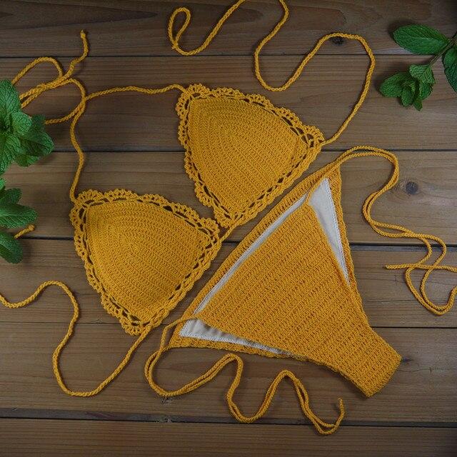 47371a70b7f free shipping women crochet Swimsuit Crochet Swimwear beach suit Sexy  Handmade Crochet Bikinis Brazilian swimming suit