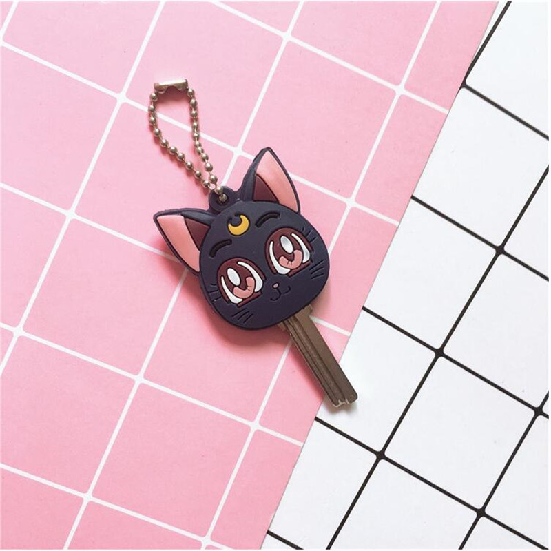 Japan Anime Sailor Moon Luna Key Chain Cosplay Costumes Accessories Sailor Moon Kitty Badge Keychain