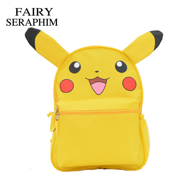 105af8c8a653 FAIRY SERAPHIM Pokemon Pikachu Backpack Yellow Children School Bags Cute  Prints Monster Schoolbags with Ears design