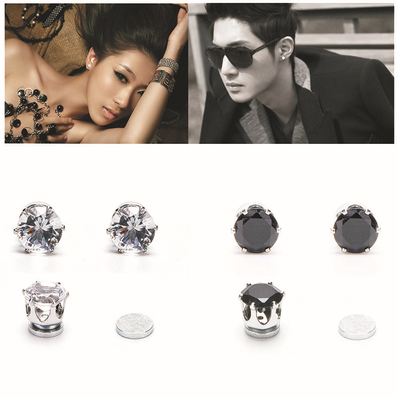 Aliexpress 1 Pair White Black Magnetic Magnet Ear Stud Easy Use Crystal Stone Earrings For Women Men Clip On No Hole Gift From
