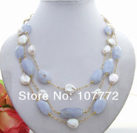 Hand Made Semi Stone Amazing! Lovely! Natural Chalcedony Fresh Water Coin Pearl Necklace free shipment