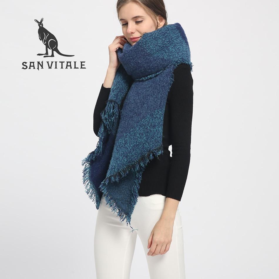 SAN VITALE Sciarpe per le donne Scialli Inverno Sciarpa calda Luxury Brand Morbidi involucri di moda in lana cashmere Chiffon islamico Plaid Hijab