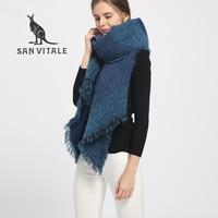 San Витале шарфы для женщин платки зима теплый шарф Элитный бренд модные мягкие палантины Шерсть Кашемир шифон исламский пледы хиджаб