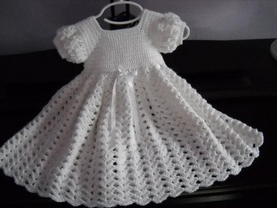 Crochet Dress blanco bebé, infantil bautismo bendición bautizo ...