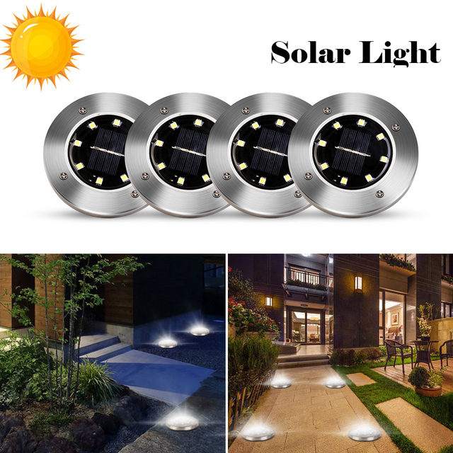 4pcs Solar Powered Ground Light Waterproof Garden Pathway Deck Lights With 8 LEDs Solar Lamp for Home Yard Driveway Lawn Road