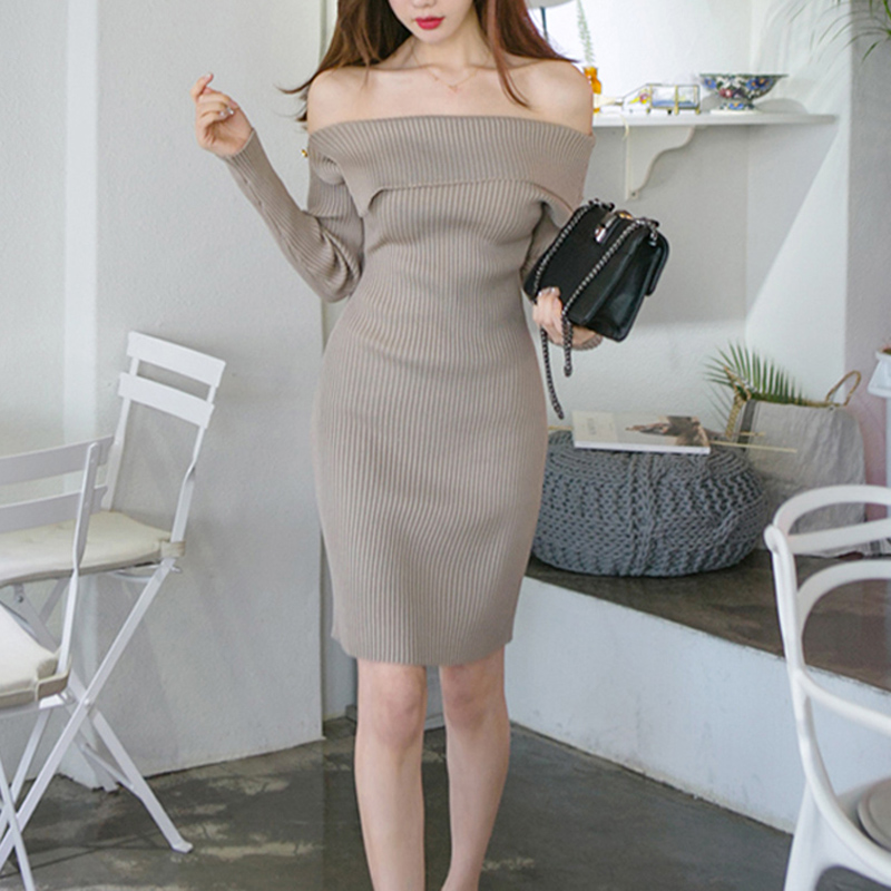 Rivet Knitted Khaki Slash Neck Sweater Dress