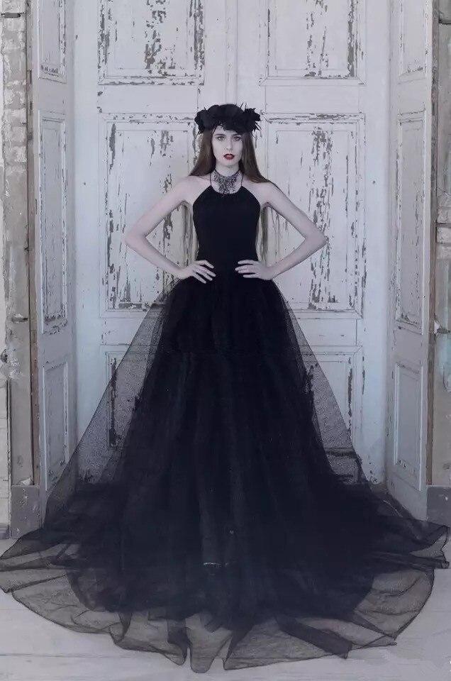 bridal black wedding dress