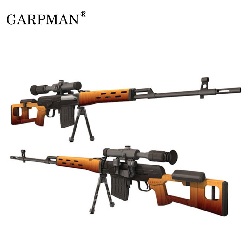 1 A Modelo De Rifle 3d Mano Francotirador Papel Juguete Svd Hecho 1 Arma Puzles Papercraft F3K1lJcuT
