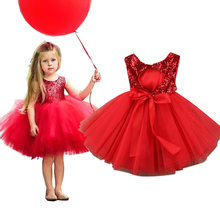 Children Girl summer dress red black sequin kids dresses for girls toddler girl princess party wedding dresses Formal Clothes все цены