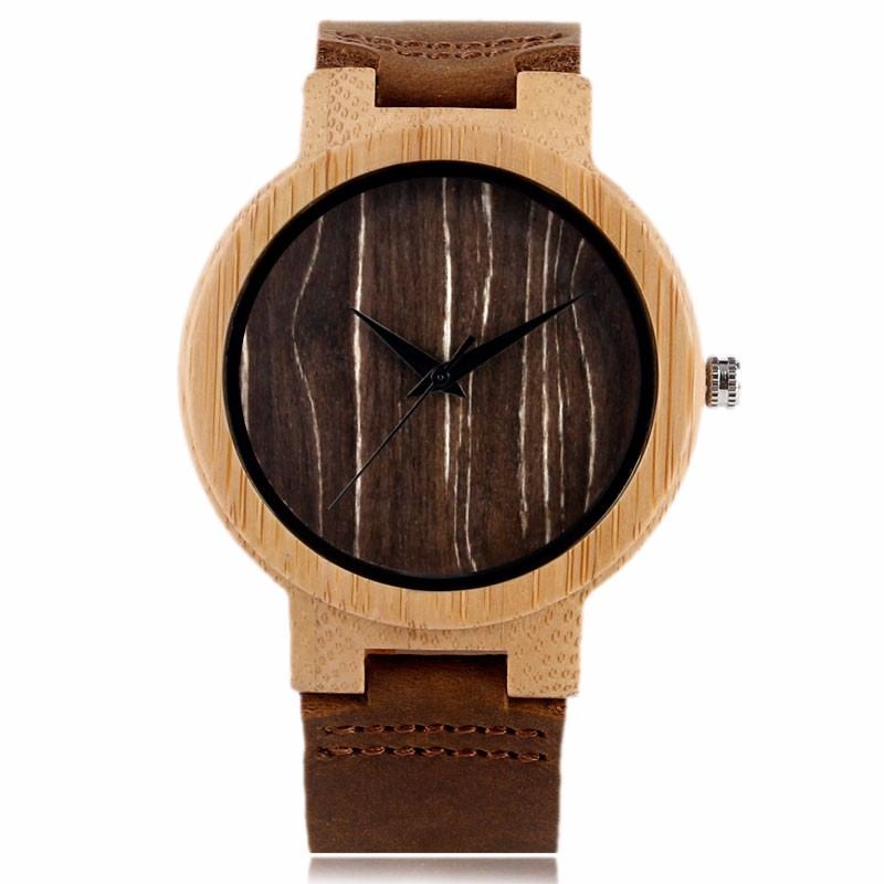 2017 Hot Selling Bamboo Watches Handmade black/brown/coffee Wood Roud dial Real Leather Band Wrist Watch Quartz  Men's Gift