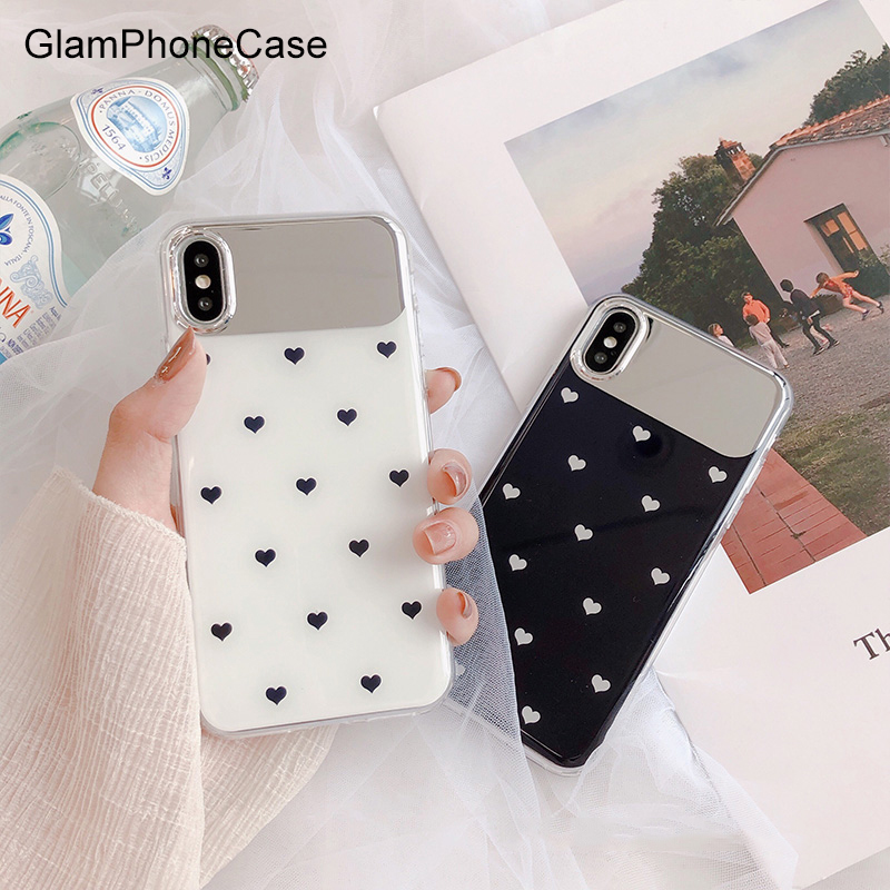 GlamPhoneCase Small Love Heart Mirror Phone Case For iPhone X XS Max XR Soft TPU Cover For iPhone 7 8 6 6s Plus Simple CaseGlamPhoneCase Small Love Heart Mirror Phone Case For iPhone X XS Max XR Soft TPU Cover For iPhone 7 8 6 6s Plus Simple Case