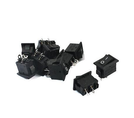 5Pcs Wholesale 10*15 Ship Type Switch Black AC 3A 250V 2 Pin ON/OFF I/O SPST Snap in Mini Boat Rocker Switch 10X15 5 pcs promotion green light 4 pin dpst on off snap in boat rocker switch 16a 250v 15a 125v ac