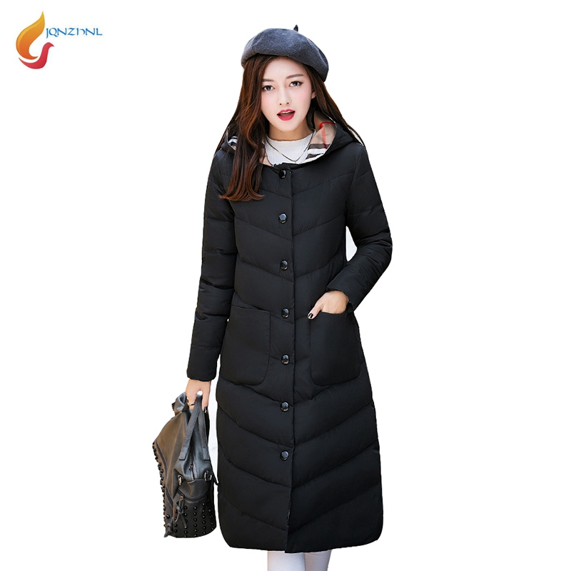 JQNZHNL 2017 New Winter Coats Women Cotton Coats and Jackets Outerwear Hooded Slim Long Down Cotton Coats Thicken Overcoats L324 brand new 2015 men fur hooded cotton padded coats fashion winter women thicken jackets couples overcoats outerwear h4395