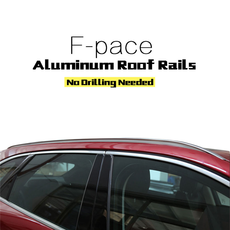 Aluminum Silver High Quality Roof Rack Bar Rail Baggage Luggage for Jaguar F-pace fpace 2016 2017 roof rack