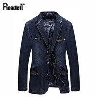 Brand Classic Clothing Men Jackets Denim Blazer Overcoat Slim Fit Jeans Casual Blazer Royal Blue Suit