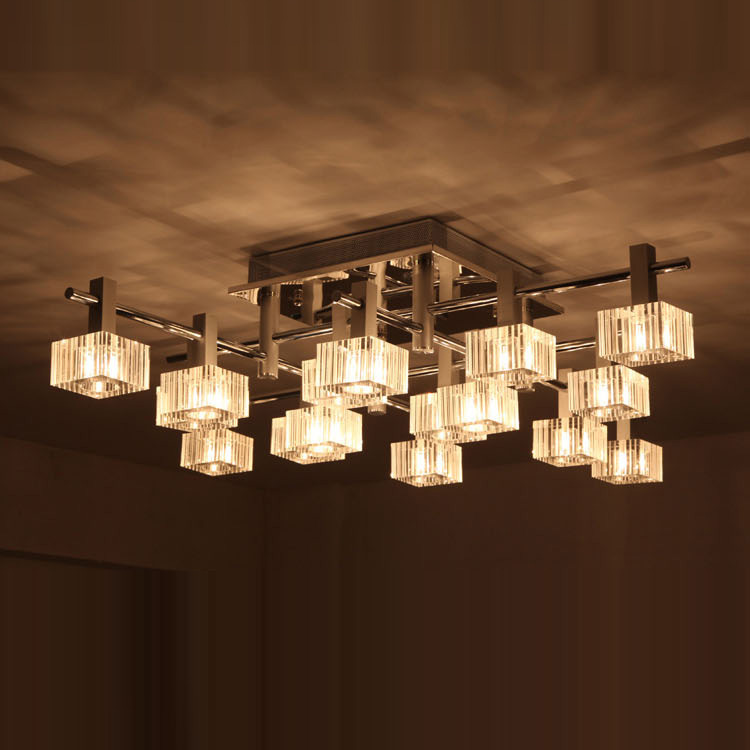 Luxury 42 wide 16 striped square crystal living room for Modern living room ceiling lights
