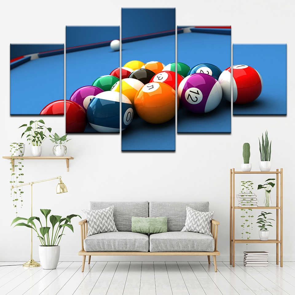 Modular Canvas Paintings Framework Wall Art 5 Pieces Color Billiards Pictures Decoration Home Living Room Modern Printing Poster