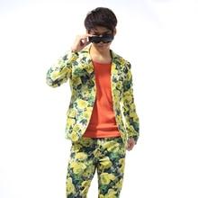 S-5XL Big yards men's clothing ! Printed men suit men's clothing Club broken beautiful suit men's cultivThe singer's clothing