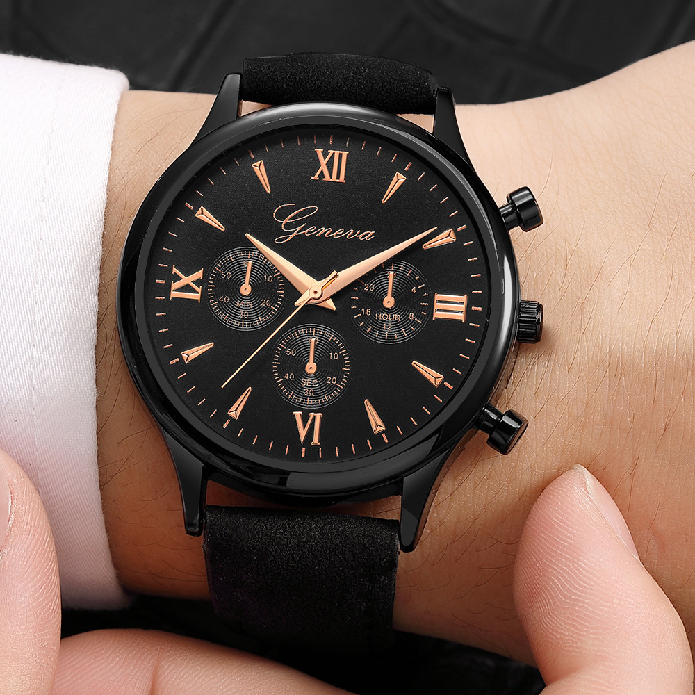 Mens Watch Fashion Geneva Men Date Case Alloy Synthetic Leather Analog Quartz Sport Watch Relogio Masculino Y5