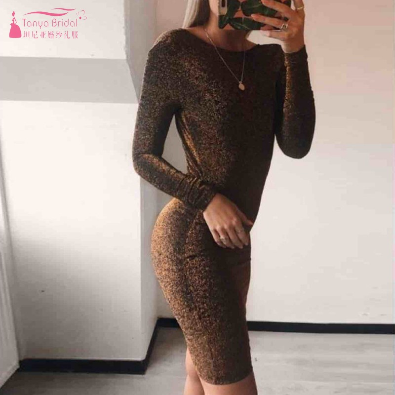 Sexy V Backless Knee Length   Cocktail     Dresses   Red Gold Black Long Sleeves Formal Party   Dress   Women Gown DQG732