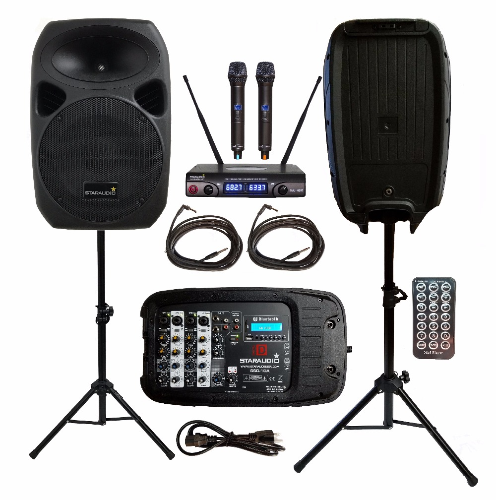 2 STARAUDIO 1500W 10PA DJ Party Stage Passive BT MP3 Speakers With 2CH UHF Wireless Mics Stands W/ Powered Mixer Cables SSD-10A