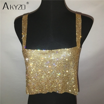 2019 Glitter Nightclub Backless Rhinestone Tank Top Women Sexy Metal Crystal Diamonds Sequined Night Club Party Wear Crop Top 5