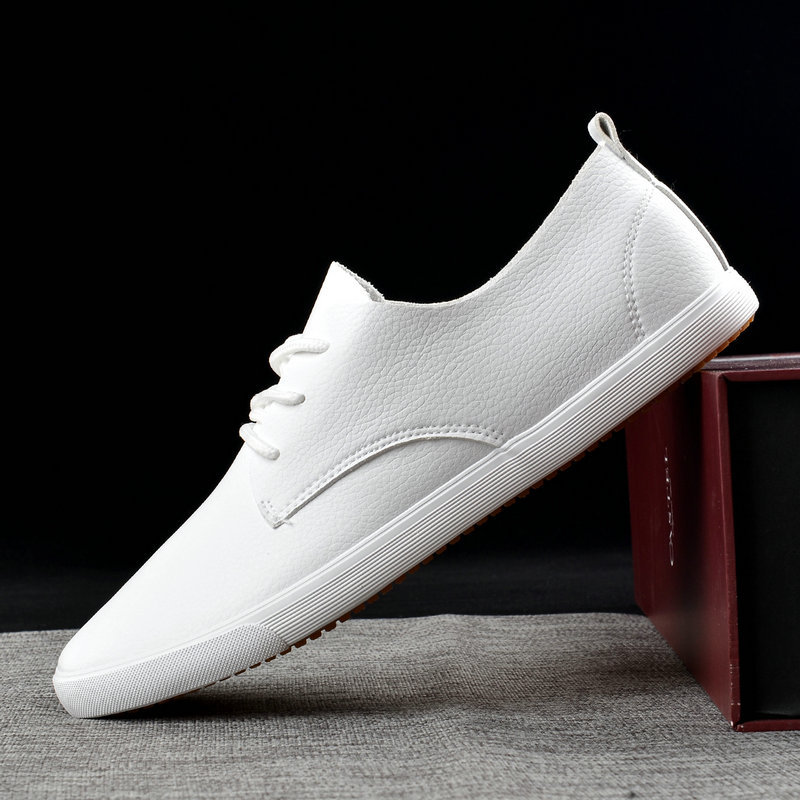 2019 Fashion Brand Men Casual Shoes Soft Leather Men Shoes Lace-up Breathable Soft White Sneakers Casual Flats Men Loafer