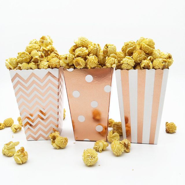 36pcs Metallic Rose Gold Popcorn Box Pop Corn Scoop Popcorn Bar Carnival Party Decor Circus Birthday Party Hollywood Movie Night
