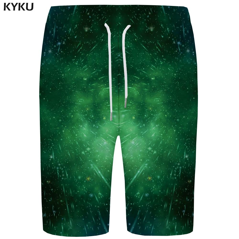 Kyku Galaxy Board Shorts Hommes Espace Court Pantalon Maillot De Plage Vert Météore 3d Imprimé Shorts Hip Hop Hommes Shorts Rapide Argent Qualité Et Quantité AssuréE