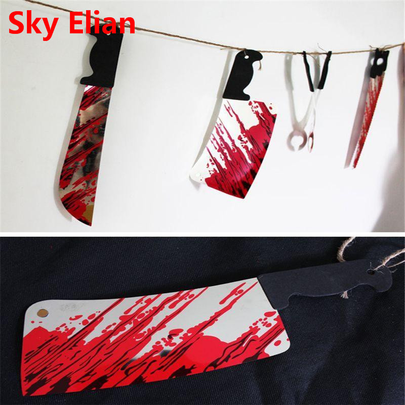 Halloween 12Pcs/set Bloody Plastic Knife Haunted House Bar