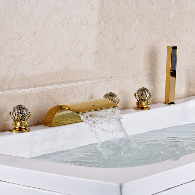 Big Promotion Best Quality Cheapest Price Bathtub Deck Mounted Shower Faucet  Brass Gold
