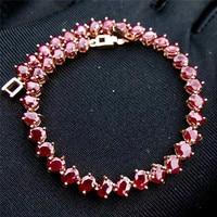 Натуральный рубиновые браслеты 3x4mmx38pcs Роскошный Подлинная камень Женщины цепи Браслеты S925 серебро ювелирных украшений Бесплатная доставк