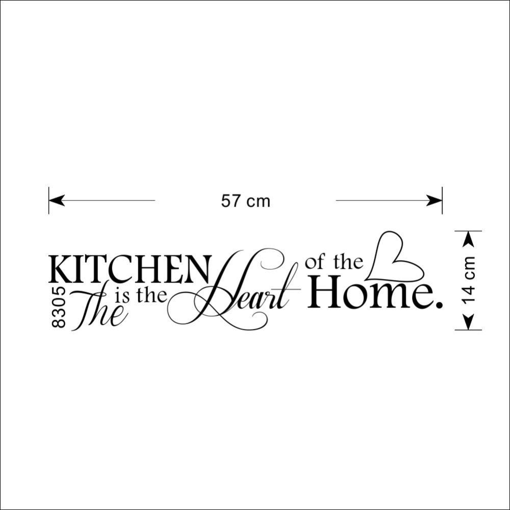 New Kitchen is Heart of the letra para el hogar pegatina para pared con patrón PVC extraíble decoración del hogar DIY Wall art MURAL