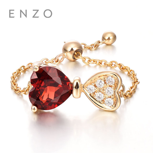 Enzo Bands: ENZO Rose 18K Gold Heart Shape Garnet Diamond Ring Natural