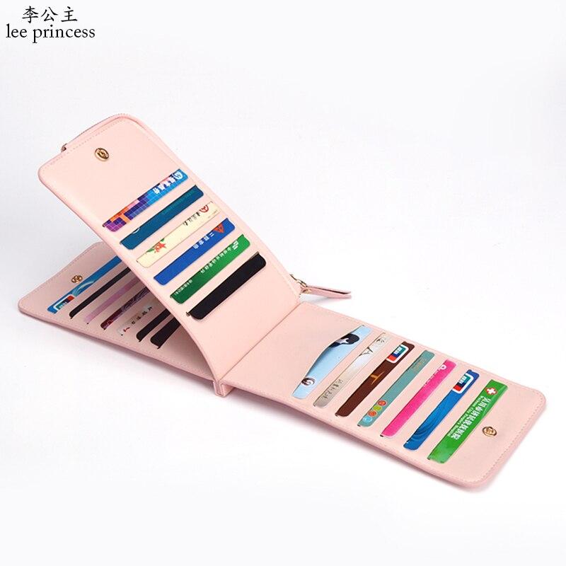 Lee Prinzessin minimalistischen 26 Karte ID Halter reise brieftasche weibliche mit zipper tasche pass verfügbar für männer frauen business Geldbörse