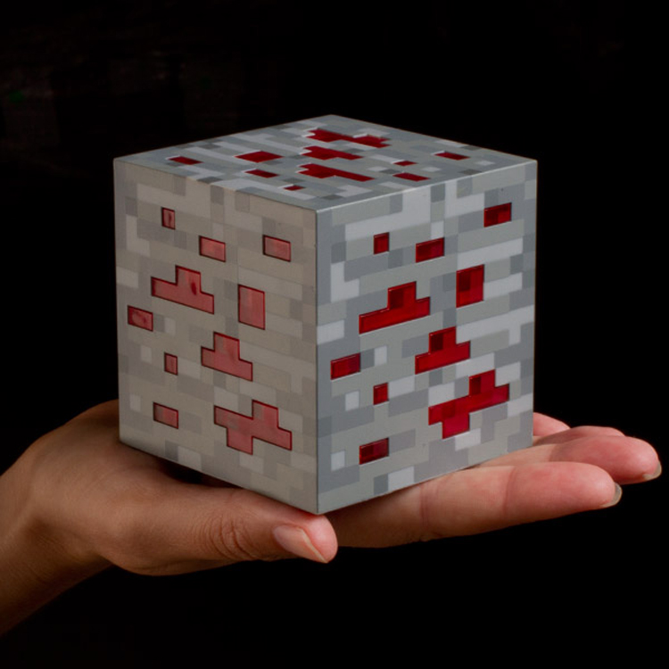 8 8 8cm Original font b Minecraft b font Light Redstone LED Lamp toy 2 Color