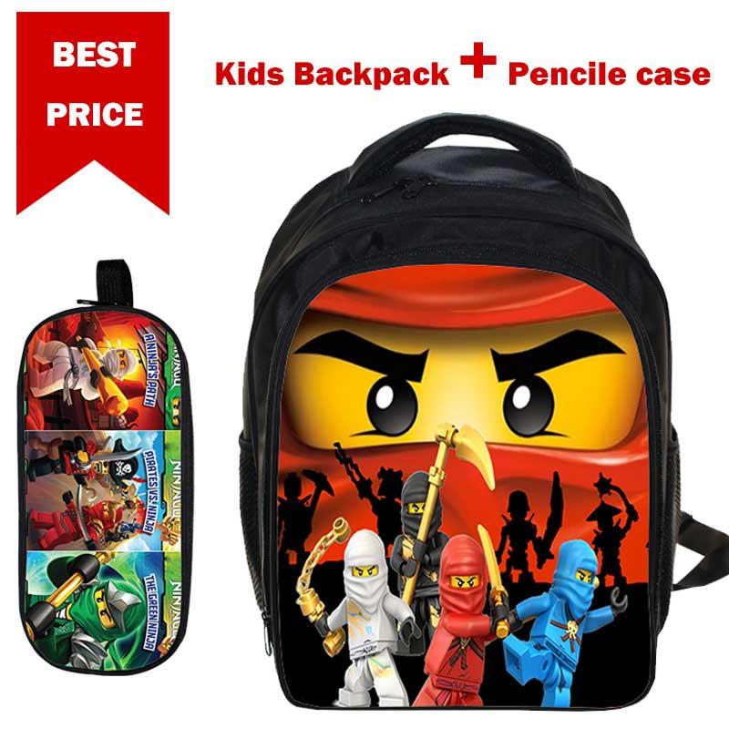 Nuevas mochilas Lego regalos Para niños niñas niños película de dibujos animados Lego Ninjago bolso escolar con patrón con estuche de pene Mochila Para Ninos Bolsa de cintura de malla para el regalo de juguete del niño de la pistola de dardo de pelota de la pistola de juguete de la competencia de Apollo Nerf