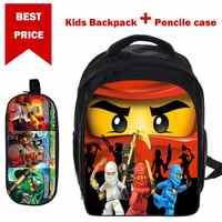 Nuevos regalos de mochilas Lego Para niños y niñas película de dibujos animados Lego Ninjago patrón Mochila escolar con estuche Para niños niños