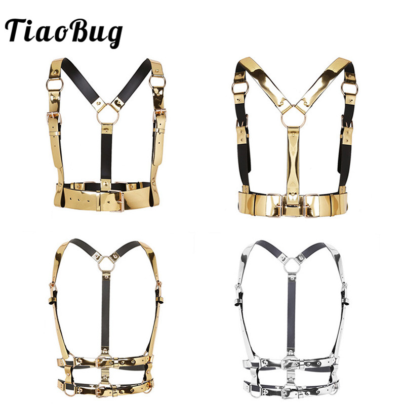 TiaoBug Unisex Fashion Punk Festival Faux Leather Body Sexy Bondage   Belt   Gold Harness Women Men Waist   Belt   Club Party Strap Tops