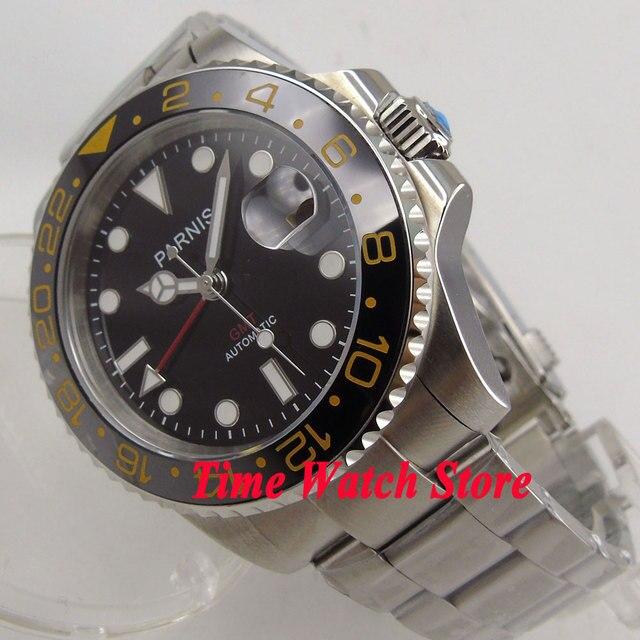 2d135521436 Parnis 40mm moldura pulseira de cerâmica vidro de safira GMT mostrador  preto relógio Dos Homens movimento