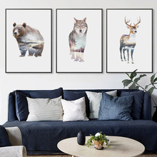 Nordic Landscape Silhouette Deer Canvas Art Posters and Prints Wall Picture Bear Owl Fox Painting Modern Home Decoration