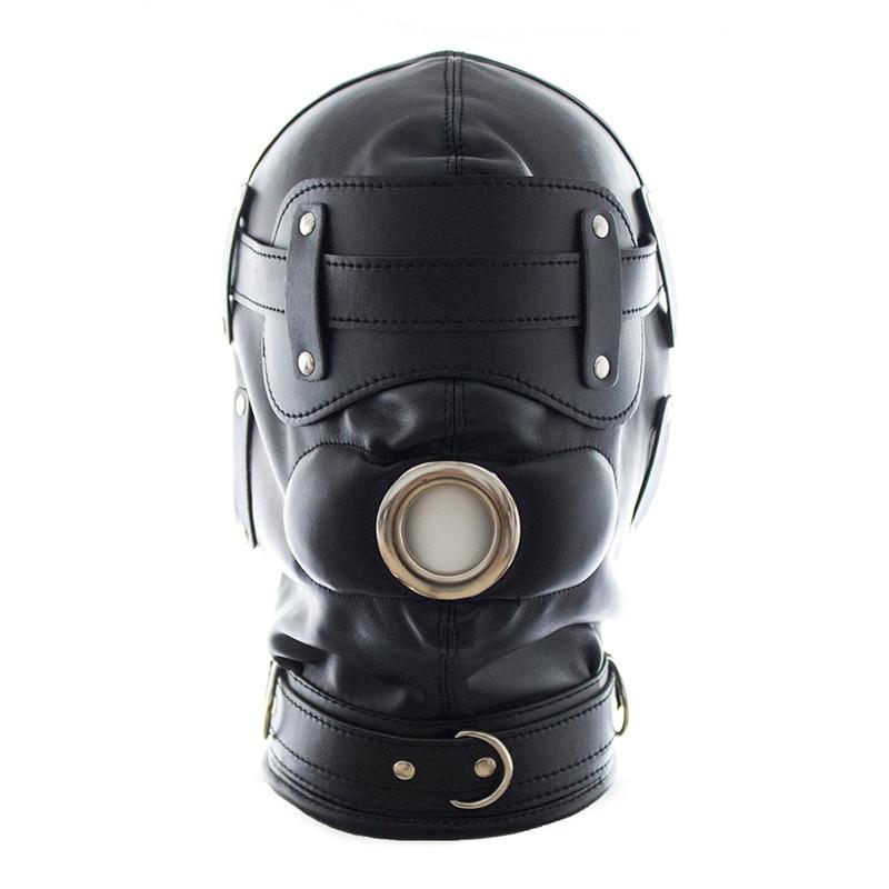 ФОТО 2017 new black/pink leather mask Detachable dildo mouth gag+Goggles bondage mask adult sex slave games fetish mask sex shop