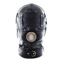 2017 new black/pink leather mask Detachable dildo mouth gag+Goggles bondage mask adult sex slave games fetish mask sex shop