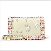 Fashion Women Bag Leather Handbags PU Shoulder Bag girl Handbags embroidery Flower Crossbody chain shoulder bag Ladies Purses