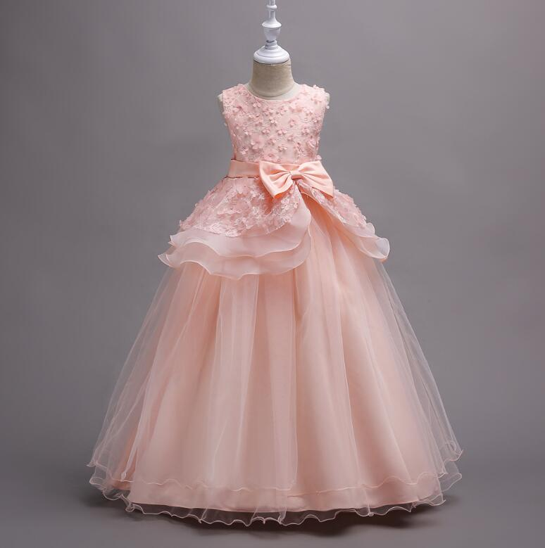 Children's floral performance princess dress girls lace embroidery mesh long dancing dress Family Matching Outfits R506