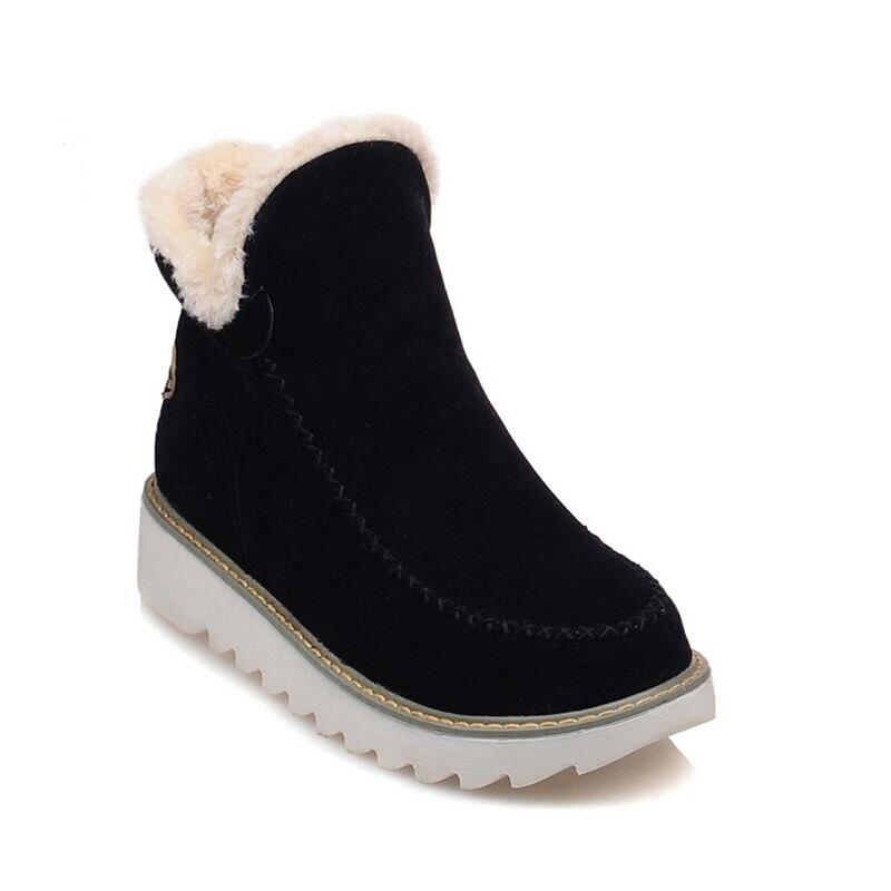 Zapatos Tobillo Clásico 2018 Otoño Para Nieve Black Mujer Piel De La Botas brown Invierno Plantilla beige x7TqFqU8w