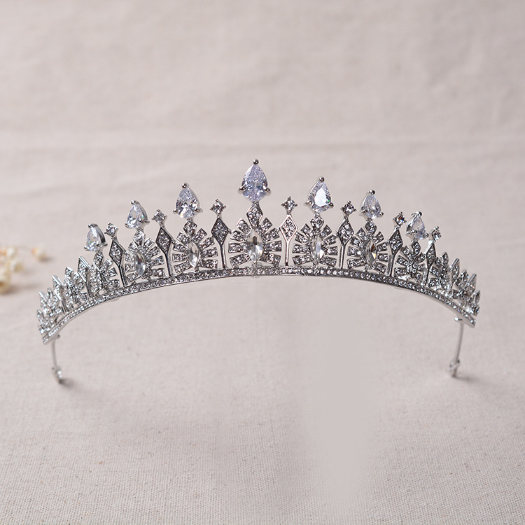 Prata Crystal Clear Strass Tiara de Casamento Cubic Zircon CZ Nupcial Rainha Princesa Coroa Da Representação Histórica
