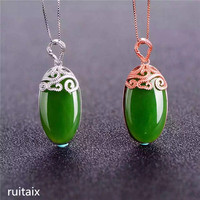 KJJEAXCMY boutique jewels S925 Pure silver inlay natural jade lady pendant + necklace money bag flower spinach green jewelry pl