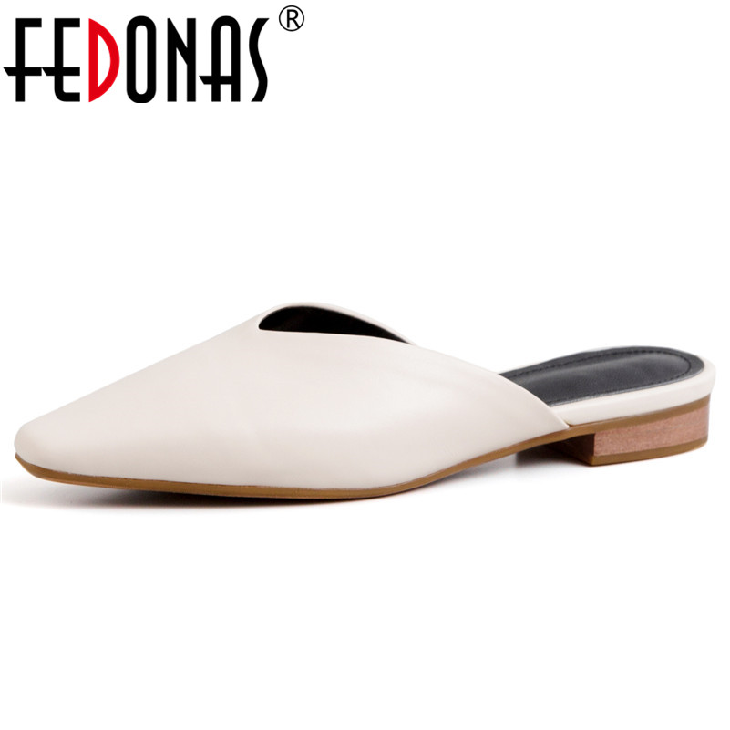 FEDONAS Fashion Elegant Women Pumps 2019 New Genuine Leather Mules Casual Basic Shoes Spring Summer Party