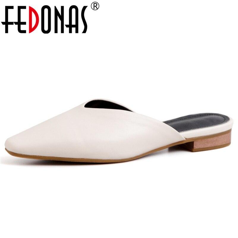 FEDONAS Mode Elegante Vrouwen Pompen 2019 Nieuwe Lederen Muilezels Casual Basic Schoenen Lente Zomer Partij Bruiloft Schoenen Vrouw-in Damespumps van Schoenen op  Groep 1